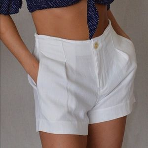 Pants - High Waist White Short